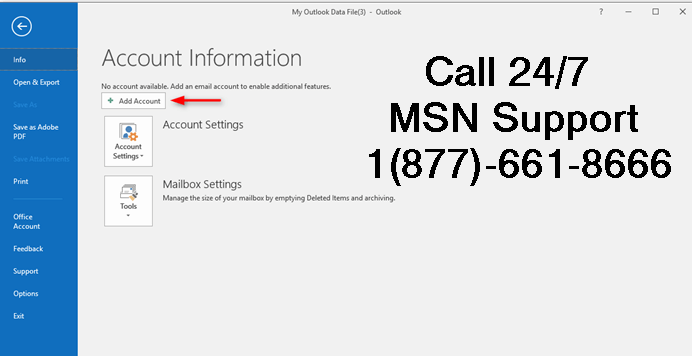 Setup or configure MSN email account on Outlook